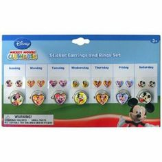 Mickey Mouse Clubhouse Sticker Earrings and Rings Set by H.E.R. Accessories. $3.99. Beautiful design!. 7 different rings!. Based on the popular character Mickey Mouse and his friends!. 7 different sets of earrings!. Brand new!. This beautiful Mickey Mouse Clubhouse sticker earrings and rings set is the perfect party favor! Each package includes 7 different set of earrings with 7 different matching rings. A new style for each day of the week! Ages 3 and up.