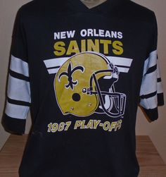 vintage 1987 New Orleans Saints NFL football playoffs jersey t shirt size XL by vintagerhino247 on Etsy