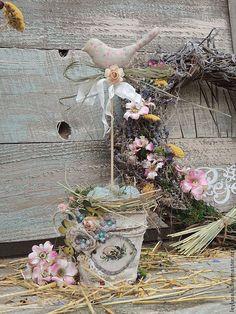 Купить Подарок на Пасху Птичка с гнездом композиция к Пасхе с - голубой, Пасха, весна, птица, подарок