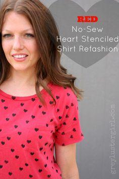 Red No-Sew Heart Stenciled Shirt Refashion
