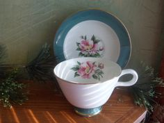 Homer Laughlin Empire Green Pink Rose Cup and saucer