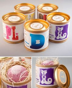 Tins or Paint cans for packaging.