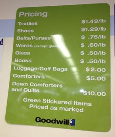 Pay for items by the pound at Goodwill Outlets!