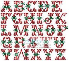 Christmas Alphabet - cross stitch pattern designed by Tereena Clarke. Category: Alphabets.