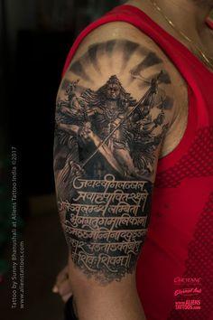 Shiva Tandav Tattoo by Sunny Bhanushali at Aliens Tattoo India. Hindu Tattoos, God Tattoos, Religious Tattoos, Body Art Tattoos, Sleeve Tattoos, Tattoo Art, Mantra Tattoo, Sanskrit Tattoo, Shiva Tandav