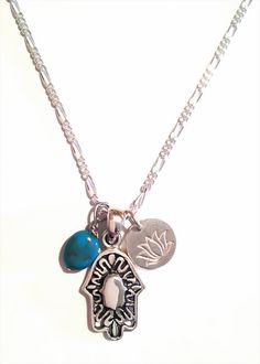Sterling Silver Hamsa Necklace With Sterling Silver Lotus Flower Charm and Turquoise Gemstone Bead-Silver Hamsa Pendant-Tiny Lotus Charm   $42.50
