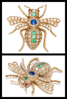 Edwardian Gold and Gem Set Bug Brooch. Circa: 1915 14K Yellow Gold Bug Brooch, set with 2 Carats of Old Cut Diamonds and further accented with Rubies, Emeralds, Sapphires.