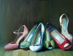 Janet Hill example - love doing still life with shoes! great for yr 9-11