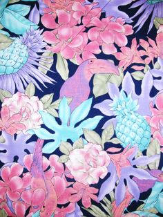 Beautiful Tropical Fabric Tucan bird Pineapple and exotic flowers pattern - Pink and Blue