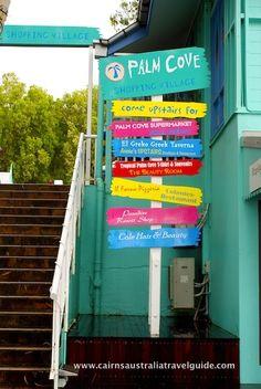Palm Cove shops - love those colours! For more information, visit: www.cairnsaustraliatravelguide.com
