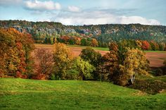 Germany by Jenny Rainbow. View of the autumnal fields, trees and rock formation of Saxon Switzerland. Art Prints For Home, Home Art, Fine Art Prints, Framed Prints, Fine Art Photography, Switzerland, Fields, Scenery, Germany