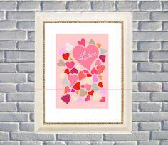 Love Hearts Multicolor Art Print Home Decor by BannerDesignShop, $15.99
