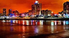 South Africa - Natal - North Beach Durban - 20 best beaches in South Africa North Beach, Beach Town, West Coast Fishing, Buffalo City, Clifton Beach, Night Scenery, Port Elizabeth, Kwazulu Natal, City Aesthetic