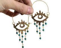 Occhio perline lampadario hoops, bulbo oculare gioielli, orecchini occhio di…