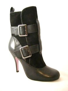 046233bc9ccc83 Buckle Leather Mid Calf Boots Brown Black High Heel Zipper NEW Ankle  Esporre  Esporre