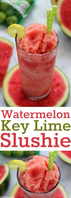 Watermelon Key Lime Slushie- Just three simple ingredients are needed to make this refreshing. Perfect for summer bbq's.