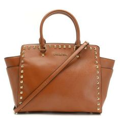 13b390d034d1 Michael Kors Large Selma Studded Luggage Saffiano Tote Products Description    Luggage saffiano leather with golden stud trim.
