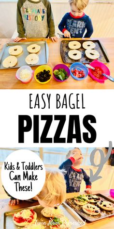 Bagel pizza recipe for kids, toddlers, and the whole family for lunch or dinner!  These mini pizzas are fun to make with kids and toddlers and you can add your favorite healthy toppings!  #kidsmeals #toddlermeals Fun Activities For Toddlers, Fun Snacks For Kids, Dinners For Kids, Kids Meals, Healthy Toddler Meals, Toddler Food, Pizza Muffins, Bagel Pizza, 1 Year Old Meals