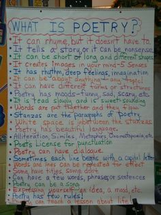 What is Poetry Anchor chart Teaching Poetry, Teaching Language Arts, Teaching Writing, Kindergarten Poetry, Writing Rubrics, Teaching Literature, Paragraph Writing, Opinion Writing, Persuasive Writing