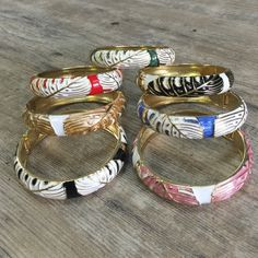 "✅ PurchaseNow 🆕 OJDC HWN Bangles Beautifully crafted, Hawaiian bangles.  Gold tone with hand painted enamel designs. this bracelet features the Hawaiian monstera leaf.  Fits wrist sizes 6.5"" - 8.5"" because of the wide hinge opening for easy on and off. Ocean Jewelers Jewelry"