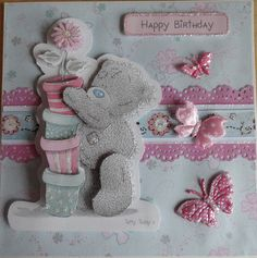 Tatty Teddy card x Happy Birthday Kids, Girl Birthday Cards, Blue Nose Friends, Bear Card, Craftwork Cards, Tatty Teddy, 3d Cards, Animal Cards, Cards For Friends
