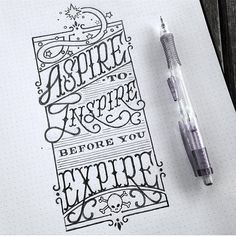 Aspire to Inspire before you Expire. Love this rhyme! Art Drawings Sketches, Disney Drawings, Easy Drawings, Tattoo Illustration, Simple Doodles, Typographic Design, Calligraphy Letters, Word Art, Creative