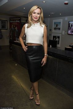 Amanda Holden sports sexy leather skirt at Breeders opening night Amanda Holden Style, Amanda Holden Bgt, Laurie Holden, Hot High Heels, Blouse And Skirt, Sexy Skirt, Skirt Suit, Skirt Outfits, Work Outfits