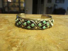 FINE Old Pawn Zuni Sterling Silver Turquoise ROW Design Cuff Bracelet #SterlingSilverTurquoise
