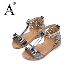Aercourm New Children Sandals Casual Girls Shoes Princess Open Toe Sandals