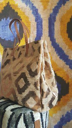 Gold jud tote ikat printed bag