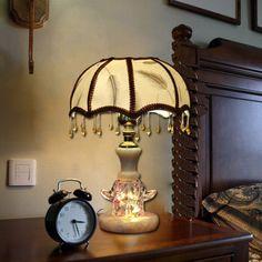 European Pastoral Fabric Bedsides Desk Lamp Creative Kid's Room Desk Lamp Living Room Desk Lamp