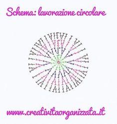 Come si fa lavorazione in tondo a uncinetto?  Partiamo:  INIZIO - avviare 4 catenelle e chiuderle a cerchio 1° GIRO - iniziare con l'anello magico e fare 3 catenelle + 11 ... Crochet Bookmark Pattern, Crochet Bookmarks, Form Crochet, Crochet Granny, Crochet Stitches, Knit Crochet, Crochet Patterns, T Shirt Yarn, Crochet Fashion