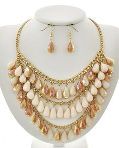 Gold Tone / Pink & Pink Ab Glass / Lead&nickel Compliant / Metal / Fish Hook (earrings) / Charm / Necklace & Earring Set