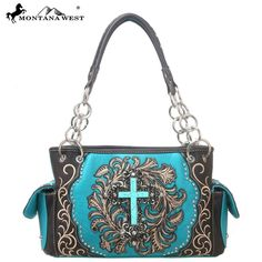 Montana West Handbag Cross Spiritual Collection  Satchel Purse Blue #MontanaWest #ShoulderBag