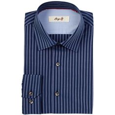 Borgo 28 Long Sleeve Trim Fit Striped Dress Shirt ($40) ❤ liked on Polyvore featuring men's fashion, men's clothing, men's shirts, men's dress shirts, powder blue, mens long sleeve cotton shirts, mens long sleeve shirts, mens long sleeve dress shirts, mens striped shirt and mens striped dress shirts