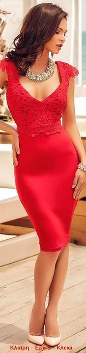 Atmosphere Fashion red lace dress women fashion outfit clothing style apparel closet ideas I like that! Trendy Dresses, Tight Dresses, Sexy Dresses, Cute Dresses, Beautiful Dresses, Short Dresses, Fashion Vestidos, Women's Fashion Dresses, Beauty And Fashion