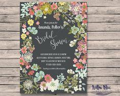 Floral Frame Bridal Shower Invitation #502, 5x7 or 4x6 Printable, Printable Bridal Shower Invitation