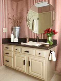 Red-and-White Striped Bath Striped Wallpaper, Bathroom Floor Tiles, Bathroom Red, Beige Tile, Beige Tile Floor, Brown Area Rugs, Beige Bathroom, Bathroom Design, Ceramic Tile Floor Bathroom