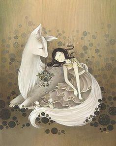 illustration, fox and amy sol image on We Heart It Amy Sol, Art Nouveau, Mother Art, Ouvrages D'art, Art Et Illustration, Traditional Art, Illustrations Posters, Illustrators, Folk Art
