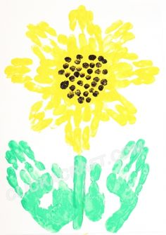 Handprint Sunflower - Click on image to see step-by-step tutorial.