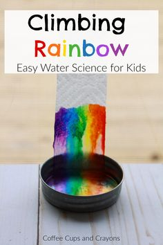 Climbing Rainbow Science Experiment This climbing rainbow science experiement is sure to thrill your kids! The best part is you already have all the suppies you need to do it today! Science Experiments For Preschoolers, Science Projects For Kids, Cool Science Experiments, Science For Kids, Science Ideas, Experiments For Kids Easy, Kindergarten Science Projects, Teaching Science, Summer Science