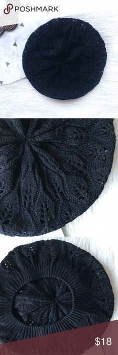 NWOT Black Knit Beret Hat Brand new, never used!  Black knit beret is a staple of French fashion and also is a must have piece in any stylish wardrobe. Wear it the way it is for a casual look or spruce it up with an embellished brooch for a sophisticated look! Accessories Hats