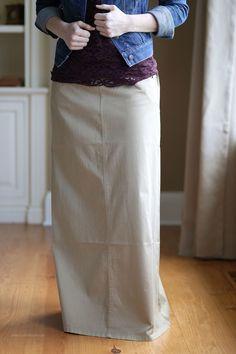 Simple Long Khaki Skirt, Sizes 2-14