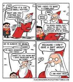 And we know why Dumbledore kept Snape as a teacher, but couldn't he have had a talk with him about bullying the students? These Hilarious Harry Potter Comics Show How Irresponsible Dumbledore Was Dumbledore Comics, Harry Potter Comics, Harry Potter Jokes, Albus Dumbledore, Harry Potter Fandom, Severus Snape, Draco Malfoy, Drarry, Dramione