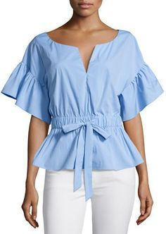 Milly Vivian Drawstring-Waist Stretch-Poplin Top Red Blouses, Blouses For Women, Chiffon Blouses, Beautiful Blouses, Mode Style, Cute Tops, Women's Tops, Black Blouse, African Fashion