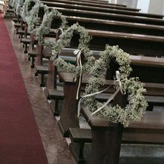 Make striking pew ends for the wedding ceremony. Church pew ends - so pretty! Church Wedding Flowers, Church Wedding Decorations, Ceremony Decorations, Wedding Ceremony, Ceremony Seating, Heart Decorations, Ceremony Backdrop, Gypsophila Wedding, Pew Ends