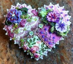 Crazy Quilt Heart Pin E -SORRY, THIS IS SOLD