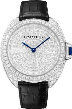 Clé de Cartier watch baguette-cut diamonds leather 41 mm, rhodiumized 18K white gold, leather, sapphire, diamonds