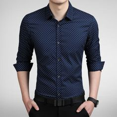 2015 New Fashion Dot Men Shirt Slim Fit Mens Dress Shirts Camisas Hombre Long Sleeve Vestidos