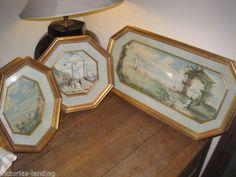 3pcs Vtg 60's French Provincial Frames and Artwork by R Montagu COASTAL ELEGANCE